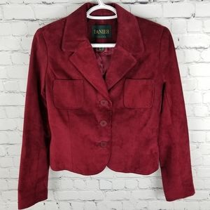 DANIER | suede button up cropped lined jacket